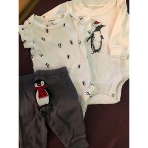 Just One You Penguin 3-piece outfit - newborn
